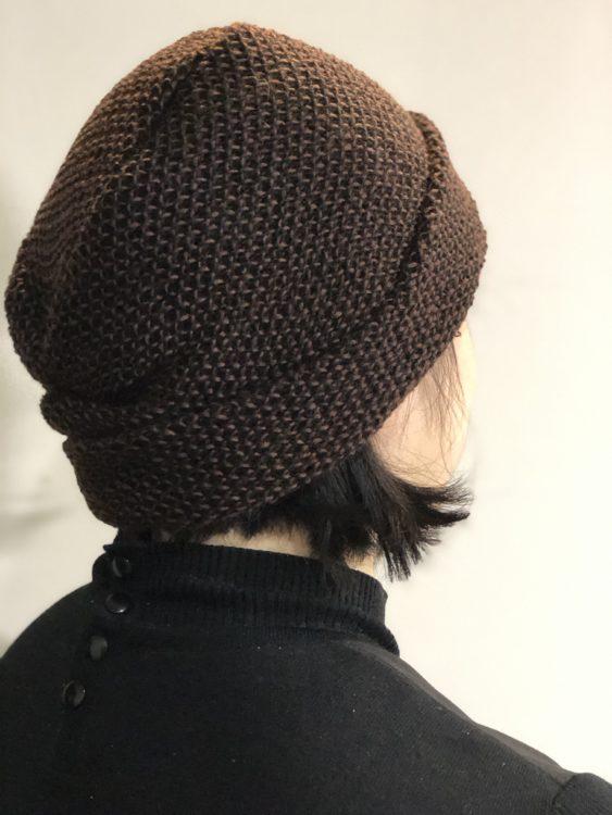 毛糸の帽子 着用後